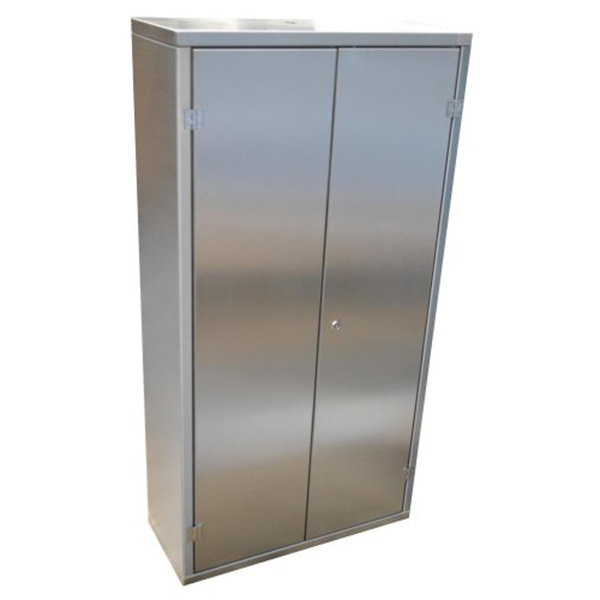 Ref: 0019 - brushed finish stainless steel tall cabinets